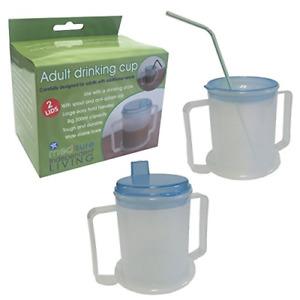 Adult Drinking Cup Mug Beaker Dishwasher Aid Mobility Disability BPA Free 300ml