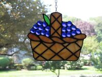 Vintage Leaded Stained Glass Suncatcher Basket Of Grapes Signed Real Glass