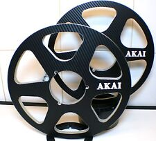 "2 X AKAI BLACK LOOK SIX SPOKE METAL HUB REEL TO REEL 10.5"" X 1/4""  CARBON FIBER"