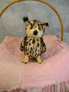 """Russ Berrie Yomiko Classics 8"""" Superb Owl Plush Horned Tufted Brown Spotted"""