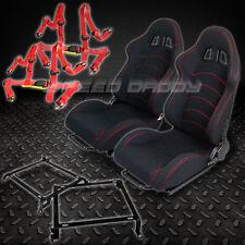 2X T-F1 BLACK WOVEN RACING SEATS+BRACKETS+4-PT RED SEAT BELTS CIVIC/EG/EK/DC2