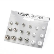 9 Pairs/Pack Women Rhinestone Crystal Pearl Earring Ear Stud Charm Jewelry Gifts