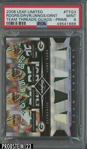 2008 Leaf Limited Threads Aaron Rodgers Driver Jennings Grant Patch /25 PSA 9
