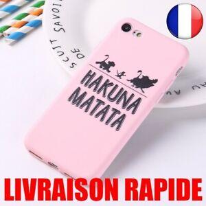 Coque iPhone  7 8 Plus X XS Max XR Souple Silicone Roi Lion Pumba Hakuna Matata