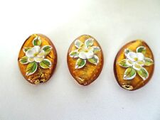 Murano Lampwork Tear Drop Glass Beads Foil Copper With  Raised Flower Design