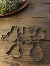 Lot of 5 Metal Christmas Holiday Cookie Cutters-Bears, Snowman, Santa, Bell