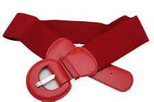 Women True Real Red Color Elastic Sexy Fashion Belt Big Buckle Plus Size M L XL