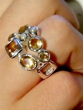 ^Vintage 925 Silver Natural Citrine Ring, Size-P(8).