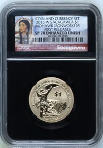 :2015-W $1 Sacagawea Native NGC SP70 ENHANCED FINISH Mohawk Iron Work FR Top Pop