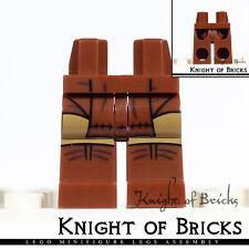 LEGO Minifigure Legs BROWN Hips Loincloth Medium Dark Flesh Knees Brown Shoes