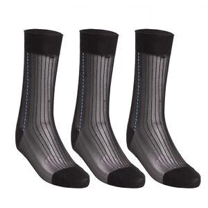 3 pairs Mens Sheer Jacquard  Thin Summer Socks Dress Socks Silk Stockings Casual