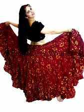 """GRANATE LUNARES Tribal Gypsy 25 yardas yarda folk de danza del vientre falda de algodón L37"""""""