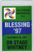 Whitney Houston 1997 Laminated Backstage Pass