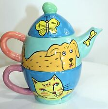 Happy Dog and Cat teapot Karen Gelff color 3 layer Fun Whimsy Pot Nature Company