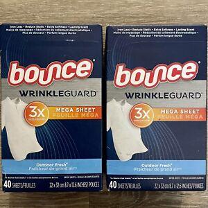 Bounce WrinkleGuard Fabric Softener 40 Dryer Mega Sheets Outdoor Fresh x2 Boxes