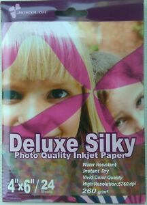 """192 Sheets 6x4"""" 4R Semi Glossy/Satin Photo Paper 260gsm 102x152mm White Silky"""