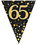 65th Birthday Party Sparkling Age 65 Black & Gold Flag Bunting Banner Decoration