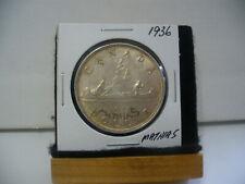 1936  CANADA  SILVER    DOLLAR   ONE   1 $  GOOD   GRADE    36    DAMAGED