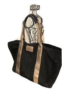 Victoria's Secret Large Weekender Duffel Bag, Black and Pink Button Closure