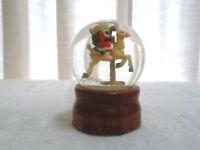 Vintage Snow Globe Music Box Santa Rides Reindeer Rotates Play Winter Wonderland