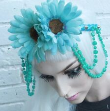 BIG BLUE FLOWER CROWN BEAD HIPPY BOHO FESTIVAL GRUNGE FOREHEAD BAND