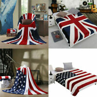 Flannel Fleece US UK Flag Throw Blanket Soft Warm Travel Quilt Bedding Sheet Rug