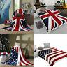 Flannel Fleece US UK Flag Throw Blanket Soft Warm Travel Quilt Bedding Sheet Rug