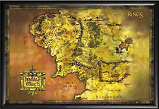 Framed Middle Earth Map Lord of the Rings Premium Black Wood Frame