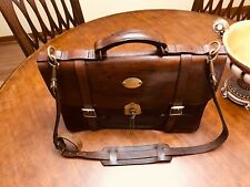 FILSON  Rustic  Brown Thick Saddle Leather Briefcase / Messenger Bag - US made