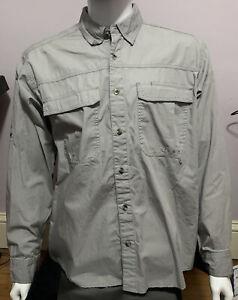 Nepallo Men's Trophy Quick Dry Long-Sleeve Gray Shirt Men's Large Mesh Polyester