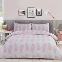 GEOMETRIC TRIANGLES PINK GREY WHITE COTTON BLEND KING SIZE DUVET COVER