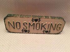 """Loomco NO SMOKING Green Tan 9"""" Sign Ceramic Table top or Hang RARE"""