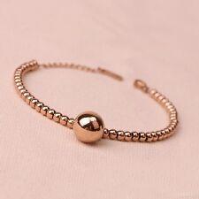 Women's Girls 18K Rose Gold Filled 12MM Round Ball Beads pendant Charm Bracelet