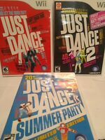 Lot of 3 Nintendo Wii Just Dance 1 2 & Summer Party Games Complete Dancing FUN