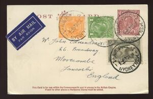 AUSTRALIA 1934 STATIONERY KG5 CARD 1 1/2d UPRATED..4 COLOURS 1 AIRMAIL VERY FINE