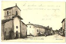 CPA 88 Vosges Domrémy Eglise et rue du Village animé