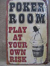 Poker Rec Room Tin Metal Sign Own Risk