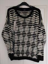 Roman Originals Contrast Cream Black Stripe Warm Fluffy Knit Jumper UK 14