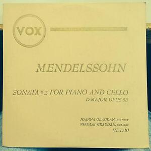 "JOANNA & NIKOLAI GRAUDAN mendelssohn sonata no 2 piano & cello 10"" VG VL 1710"