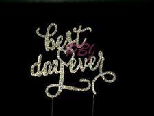 best day ever GOLD Cake Topper Birthday Wedding Party Decor Rhinestone Crystal