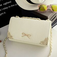 Korean Lady Women Hobo white Leather Messenger Handbag Shoulder Bag Totes Purse