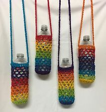 Water Bottle Holders Rainbow, Handmade Great  for easy walking Made for a 600ML