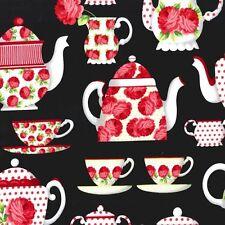 Michael Miller Cottage Shabby Chic Tea Room Teapots & Teacups CX5937-BLAC-D BTY