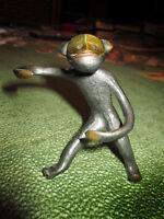 Walter Bosse, monkey Soviet vintage bronze statuette, ring holder, USSR