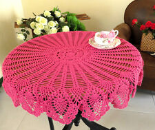 Floral Crochet Tablecloth Cotton Lace Hollow Table Cover Round Cloth Home Decor