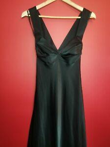 Calvin Klein Ladies Maxi Dress Occasion Party Black Satin Size 10-12