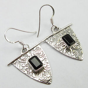 """925 Stamp Solid Sterling PURE Silver Earrings, Real BLACK ONYX Jewelry 1.5"""""""