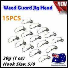 15X 30g ( 1oz ) Hook size 5/0 Weedguard Weedless Jig Head Chemically Sharpened