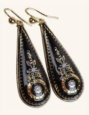Victorian Trading Co Pique Earrings Black Enamel 18k Gold Design
