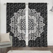 Indian Black Silver Floral Mandala 100%Cotton Bohemian Window Curtain Drapes Set